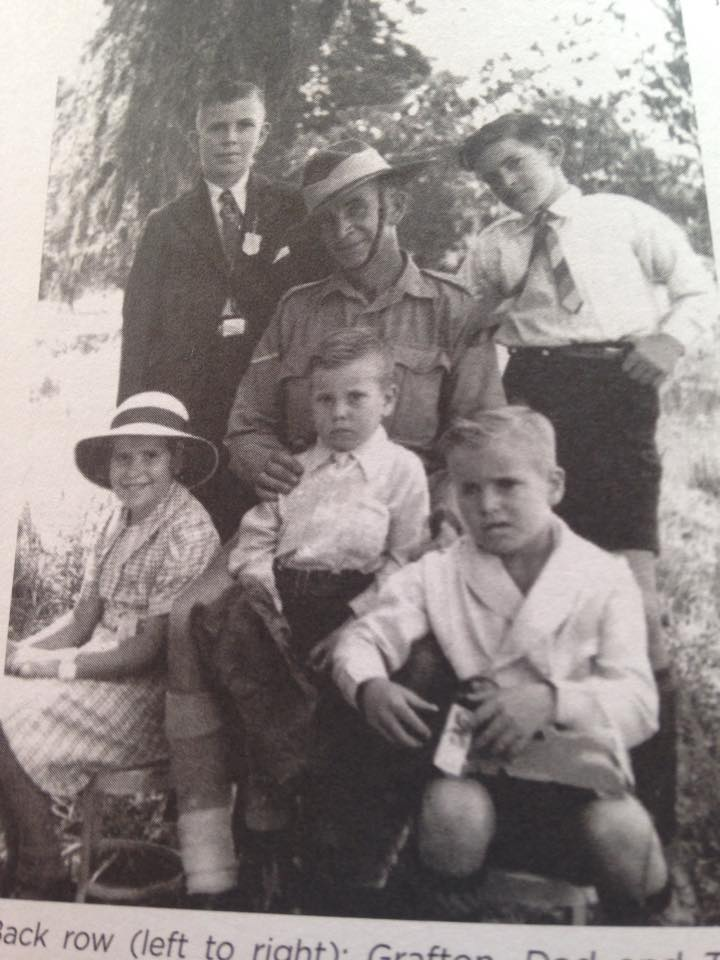 The Palmer clan. My great grandfather, Grafton, seated. My grandfather, Terry, standing right. Great Uncle Kevin seated bottom right, date unknown.