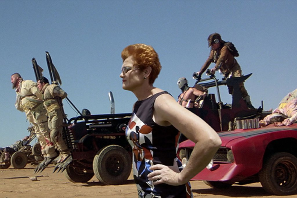 Pauline Hanson with Lord Hummungus of Mad Max fame.