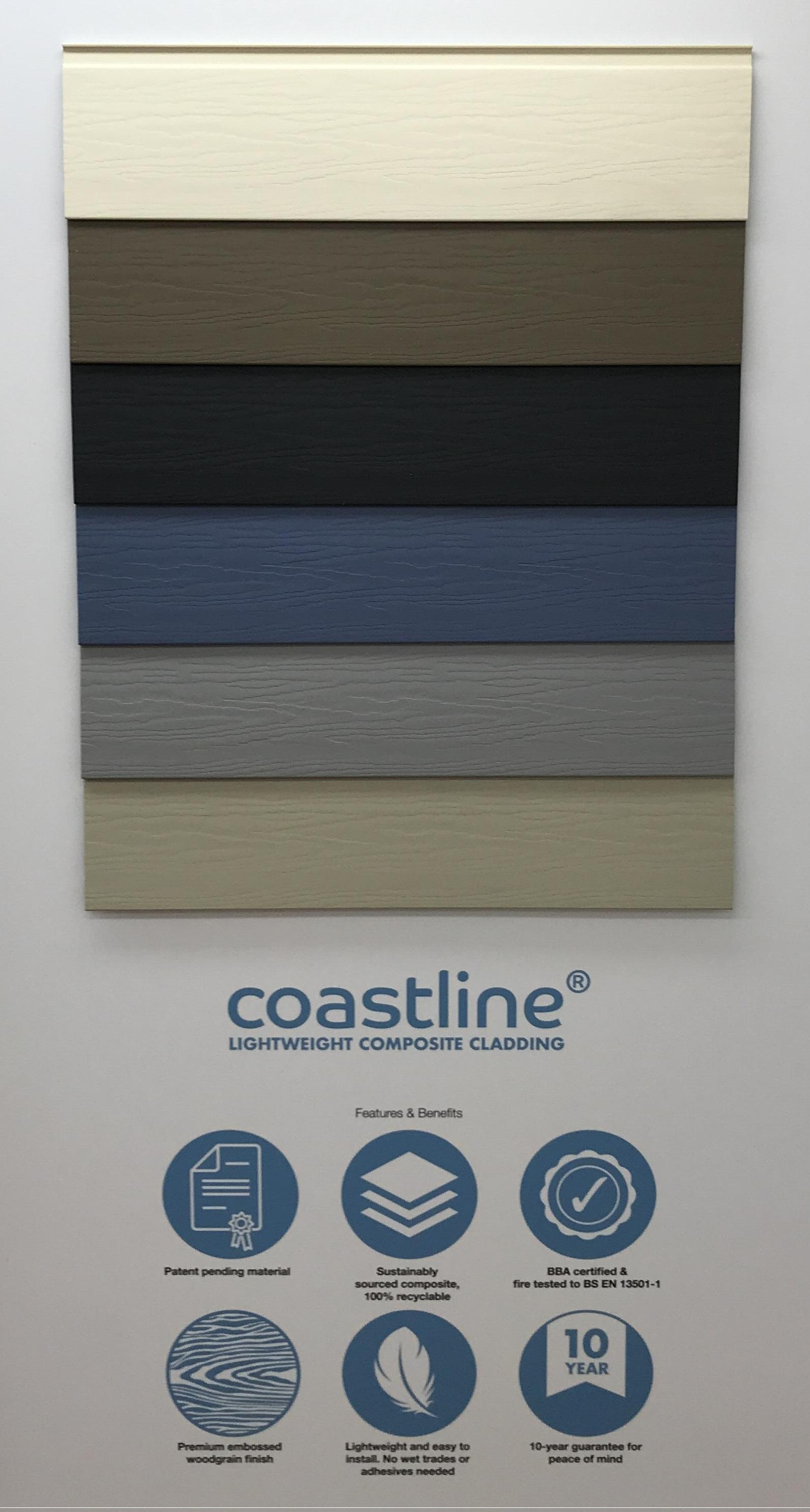 - What's more it doesn't just protect and preserve the fabric of the building. It does it in true style, with a range of six attractive New England colours: Anthracite Grey, Moondust Grey, Pigeon Blue, Oyster White, Soft Green and Taupe. A contemporary matt embossed woodgrain finish adds to the authentic timber facade effect. Unlike timber, Coastline is virtually maintenance-free, will not rot or warp and is pest and insect resistant. It's specially developed colour-coordinated and full powder-coated aluminium trims and end closers means installation is both quick and easy, with no wet trades or adhesives needed. Suitable for buildings up to 18m tall, it is BBA certified and fire tested in the UK by Exova Warringtonfire to conform to BS EN 13501 (Fire Classification for Construction Products).Quick and simple to install, Coastline employs a simple interlocking mechanism that fixes to standard timber battens with no membranes required while coordinating aluminium trims and end closers, combined with silicone sealants in complementary colours, create the perfect finish in every installation.As the next generation of cladding, Coastline is both maintenance-free and less harmful to the environment than alternative cladding systems as it contains no organic material so it will never absorb moisture, never rot and never attract insects that could damage its fabric. Unlike cement boards, Coastline is lightweight, fade-resistant, 100% recyclable and will not release harmful silica dust when cut to length. Paint and preservative treatments contain volatile chemicals that are potentially harmful to the environment but Coastline will never need them – all it takes to bring it back to its brilliant best is the occasional clean with a garden hose.Also, with ongoing issues around the supply of traditional materials such as bricks, building designers and contractors are increasingly seeking alternatives that are widely available in the UK and not reliant on imports. Coastline fits the bill perfectly.