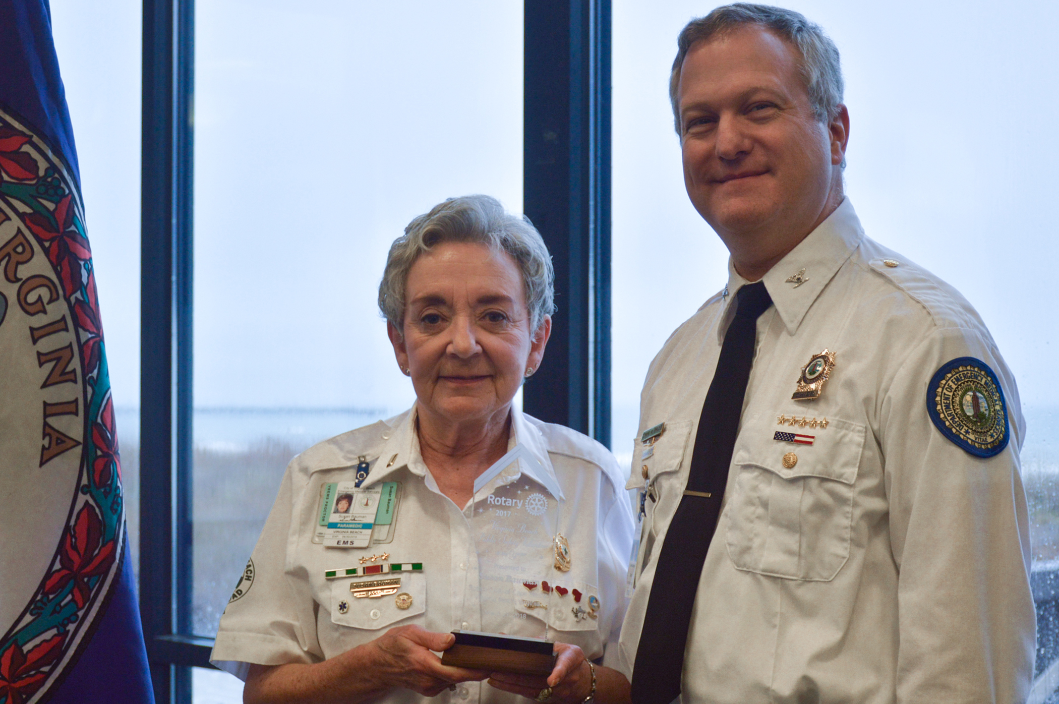 Public Safety Volunteer of the Year, Susan Bauman with VB EVMS Chief, Ed Brazle
