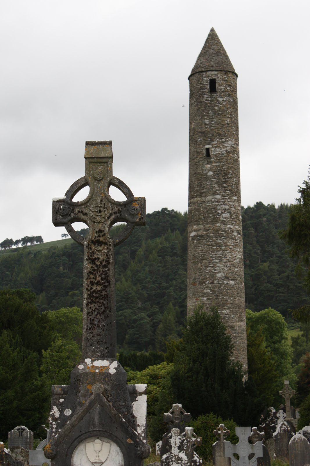 Glendalough Celtic Cross and Round Tower.jpg