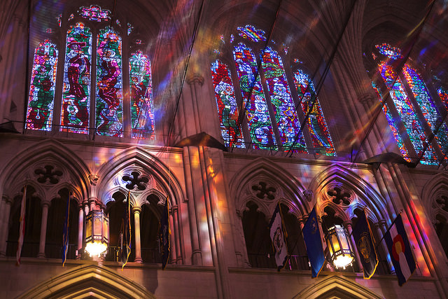 Sunbeams in the Washington National Cathedral