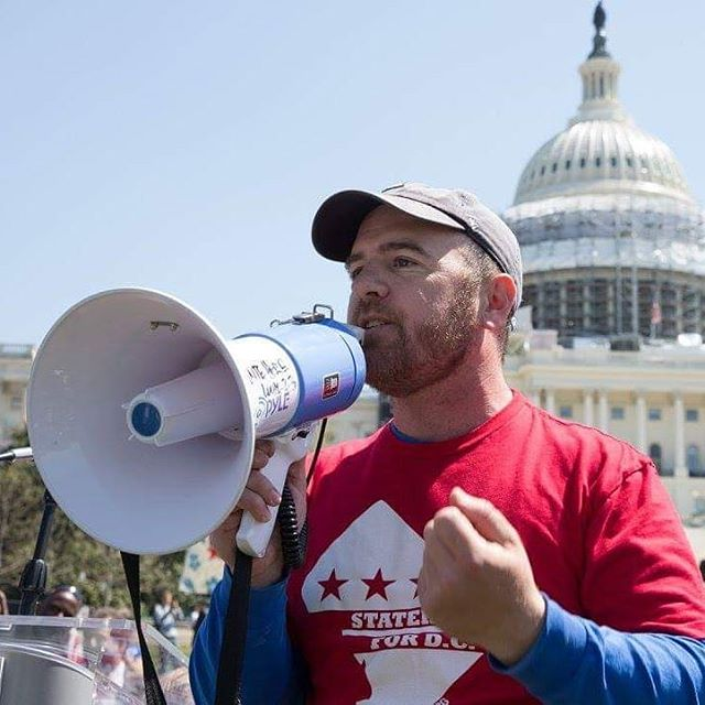 Josh Burch of the @51stdc (and LWVDC member) rallies #DCStatehood advocates outside the Capitol.