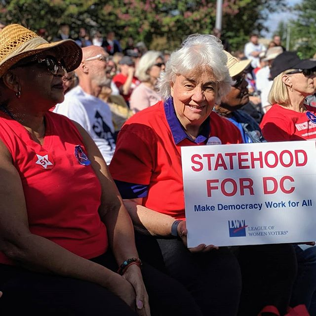 LWVDC is showing up for #DCStatehood! The hearing room is full. The two overflow rooms are full. We're enjoying the gorgeous day with the overflow crowd in the park watching the hearing on the Jumbo-tron.  #showup4dc #DCStatehood