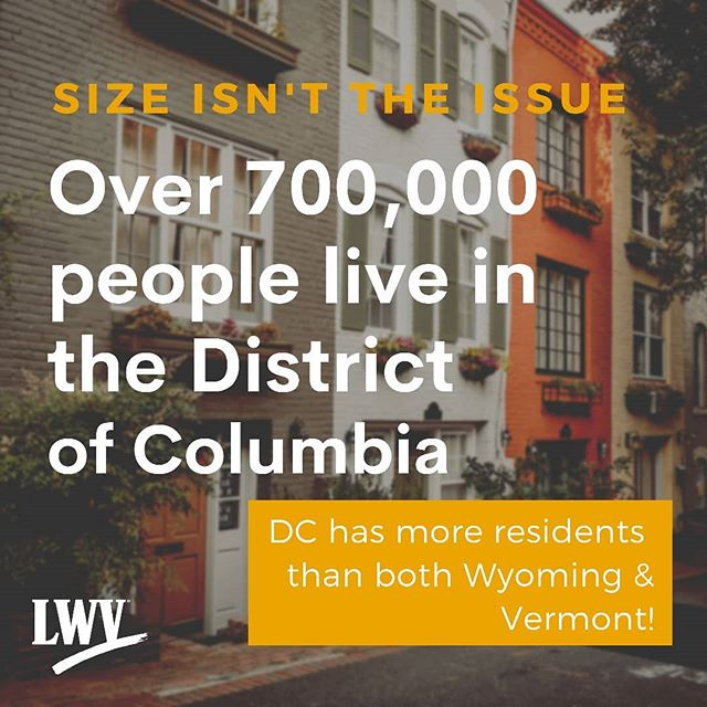 Some people say we're too small to be a state but size isn't the issue.  With a population of +700,000,  we have more people than both Wyoming and Vermont .... and they each get two senators.  It's time for #DCStatehood.