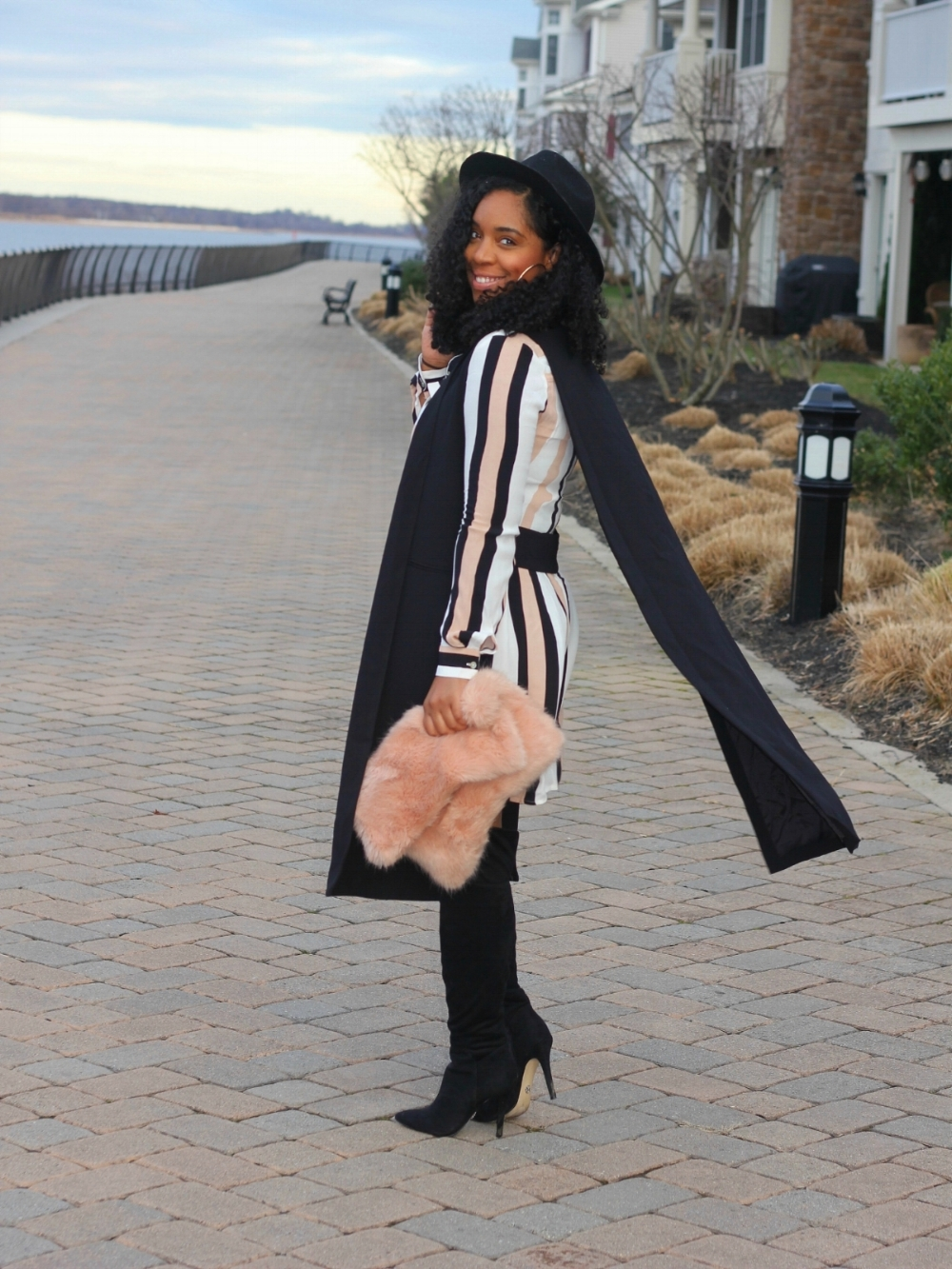 Style & Poise-Striped Dress and OTK Boots