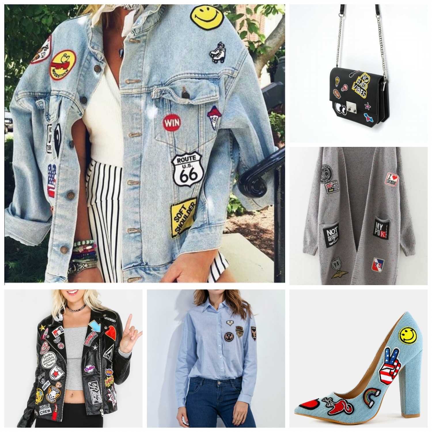 Here's a little more inspiration of ways to incorporate the patch trend into your wardrobe. (Photo collage photos were taken from Pinterest, Zara, and Shein)