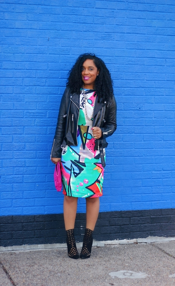 Abstract Print Dress with Booties