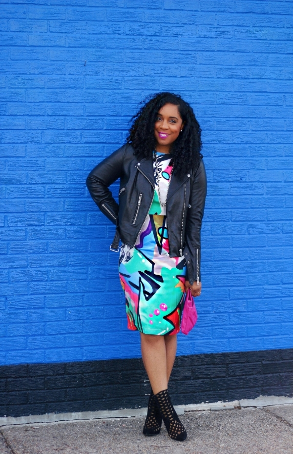 Printed Dress and Leather Jacket