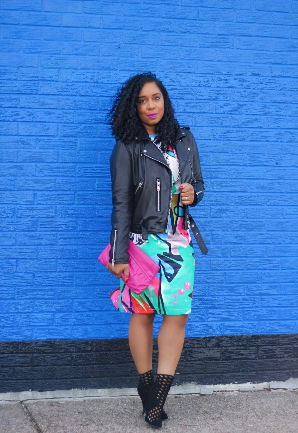 Printed Dress with Moto Jacket