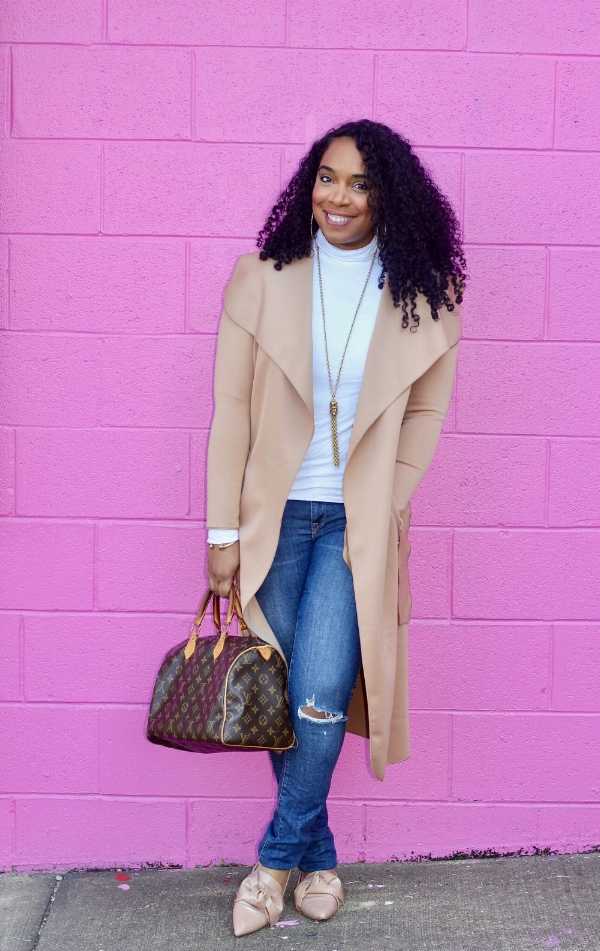 Tan Duster and LV Bag