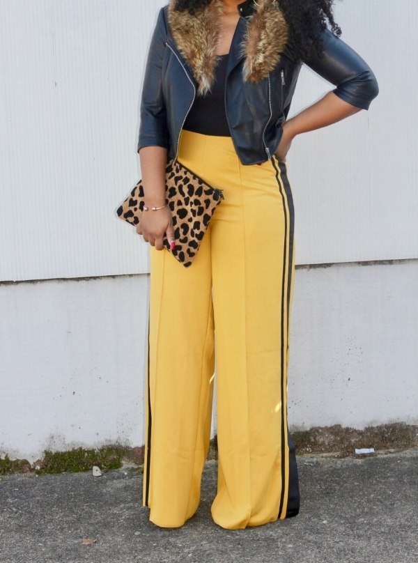 Mustard Trousers and Leather Jacket
