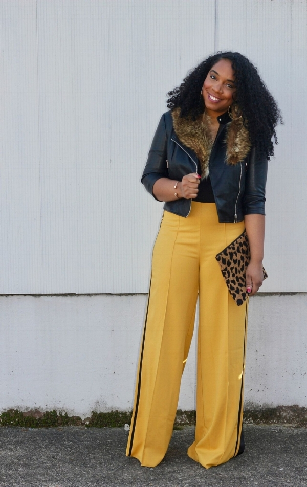 Faux Fur, Mustard Trousers, and a Moto Jacket