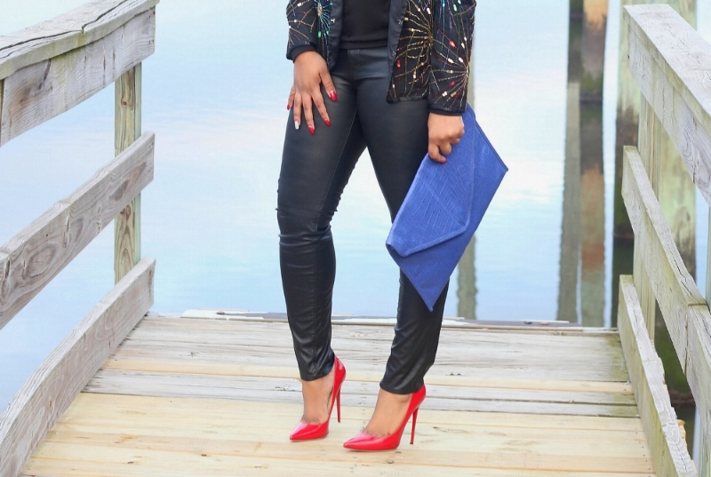 Red Pumps, Leather pants, cobalt clutch
