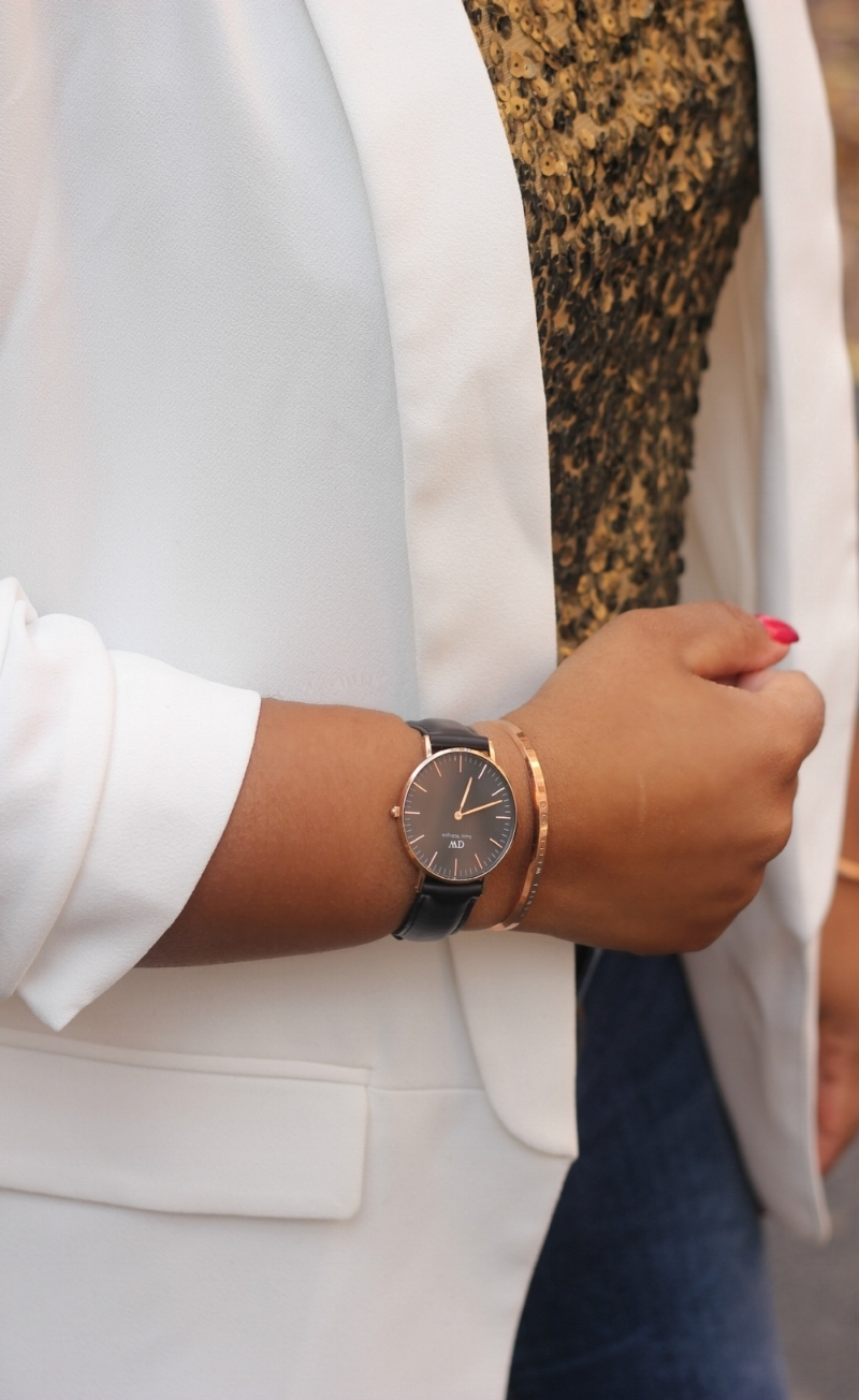Sequin Top, Holiday Fashion, Daniel Wellington watch and bracelet