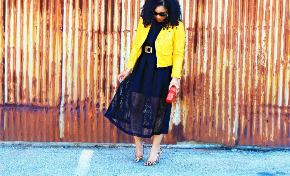 Black Midi Dress with bright moto