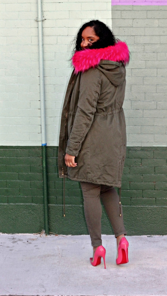 Olive and pink parka