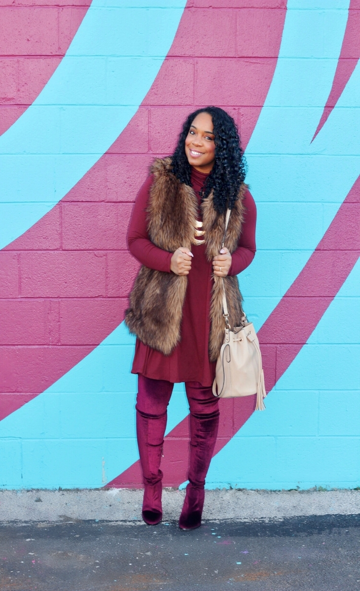 Fur Vest and OTK Boots
