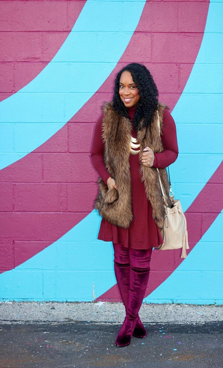 Burgundy Dress and Fur Vest
