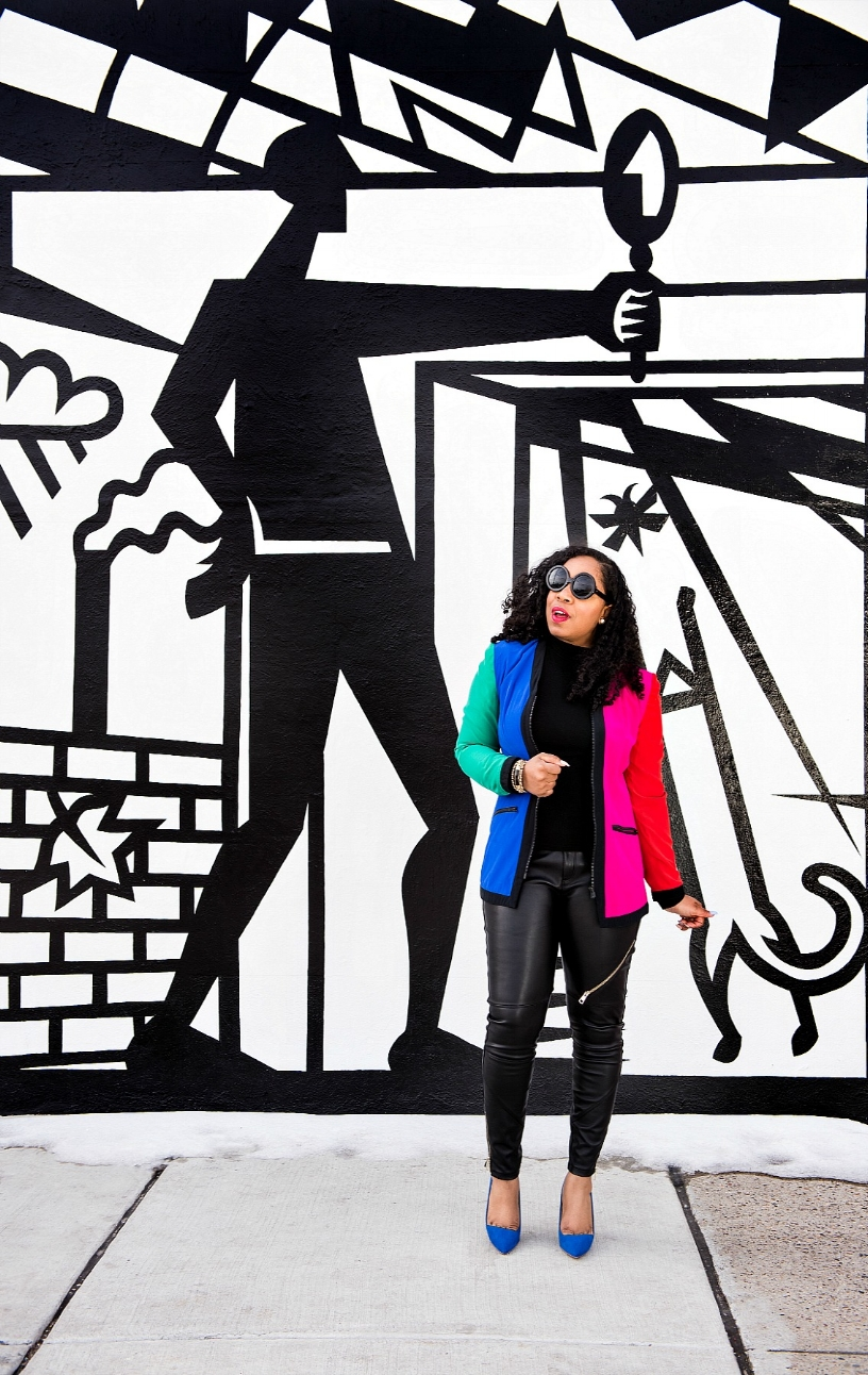 Style & Poise: Colorblock Blazer and Moto Pants