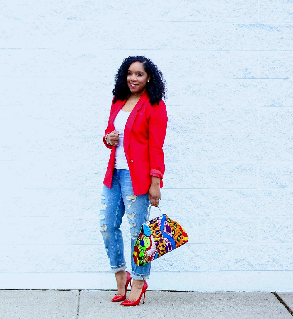 Red Blazer and Ankara Print