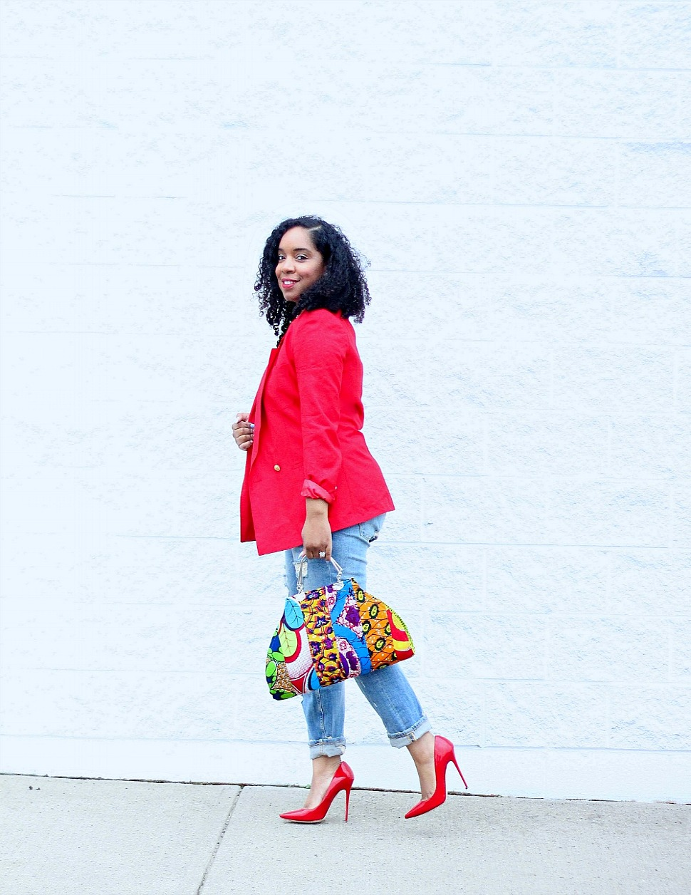 Red Blazer and Ankara Purse