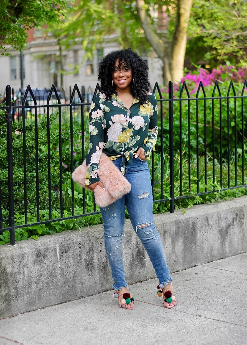 Style & Poise-Floral Top and Distressed Denim