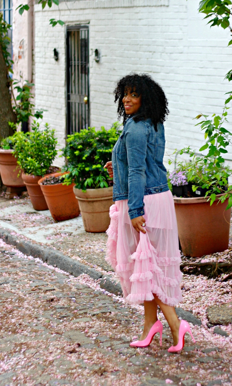 Pink Ruffle Skirt and Pink Pumps