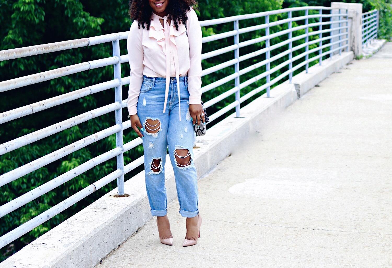 Embellished Distressed Jeans