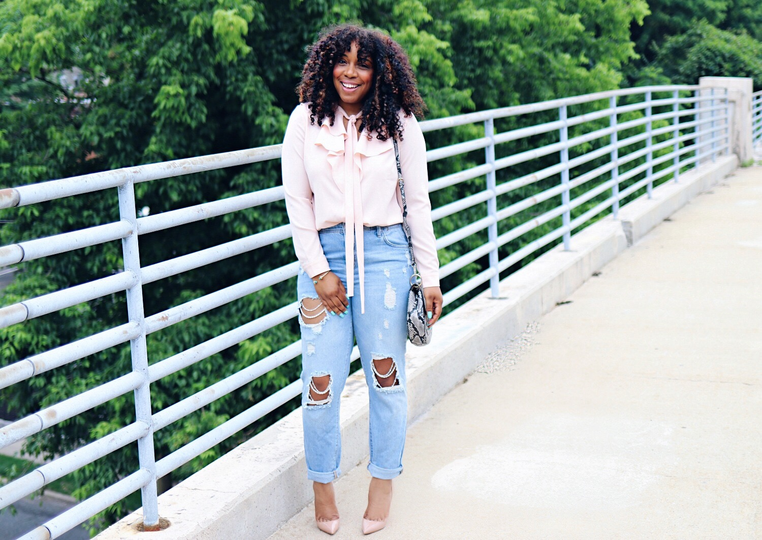 Style & Poise: Blush Pussy Bow blouse and pearl embellished denim