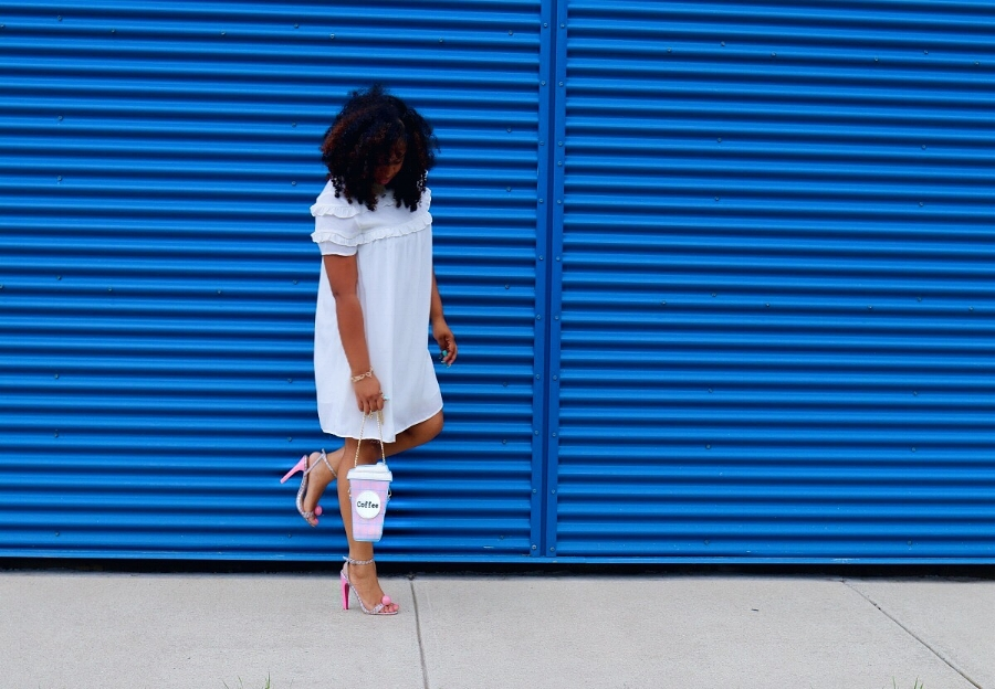 Style & Poise: Coffee Purse, Gumball Sandals, White Ruffle Babydoll Dress