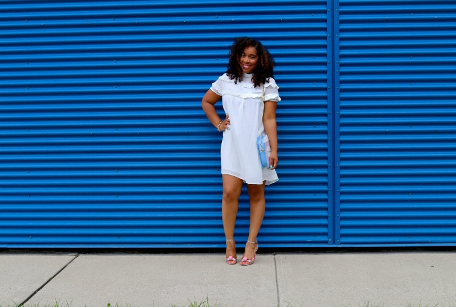 Style & Poise: Coffee Purse with white ruffle dress