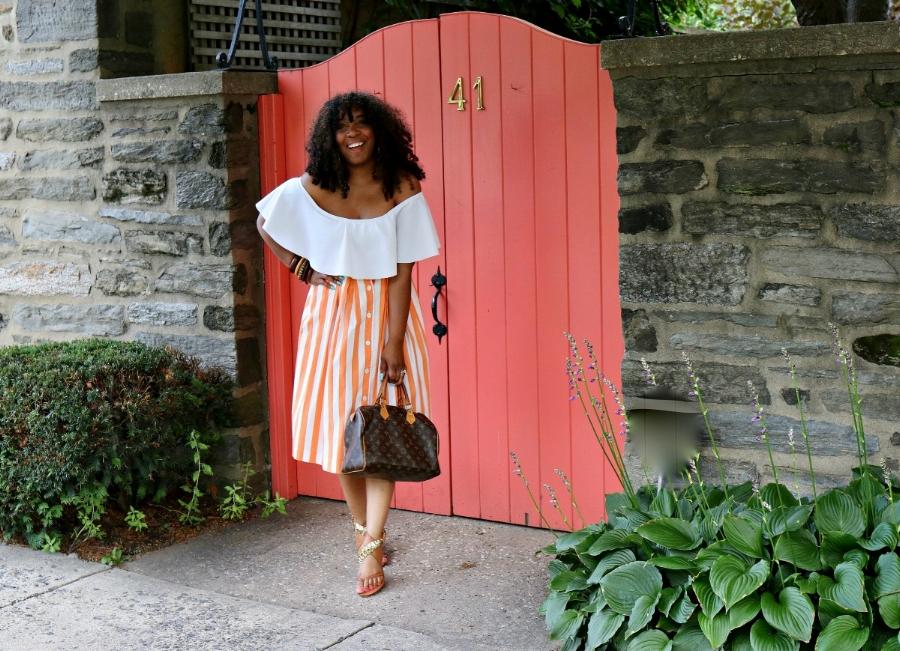 Style & Poise: Midi Skirt, Off the Shoulder Top, Wooden Bangles, LV Speedy