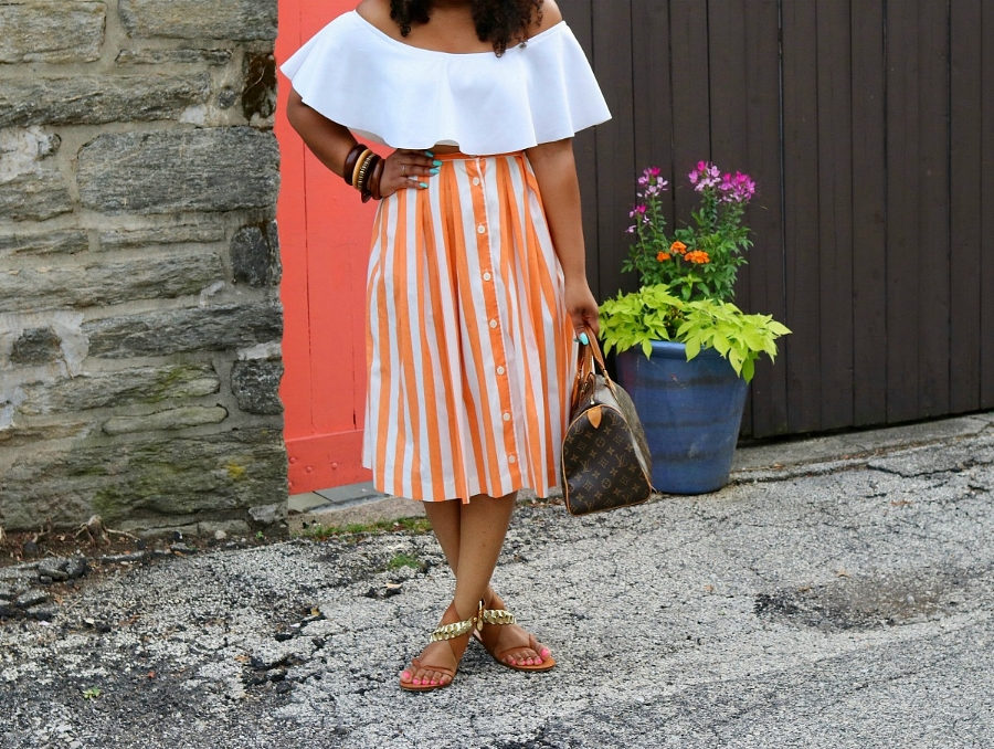 Style & Poise: Striped Midi Skirt, Off the Shoulder Top, LV Speedy Bag, Wooden Bangles
