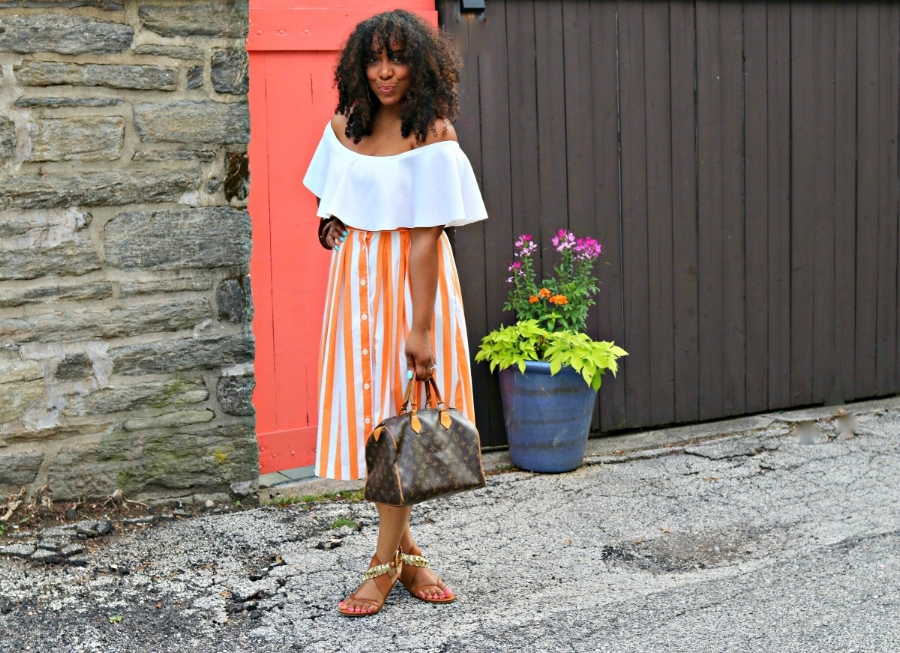 Style & Poise: Striped Midi and Off the Shoulder Top