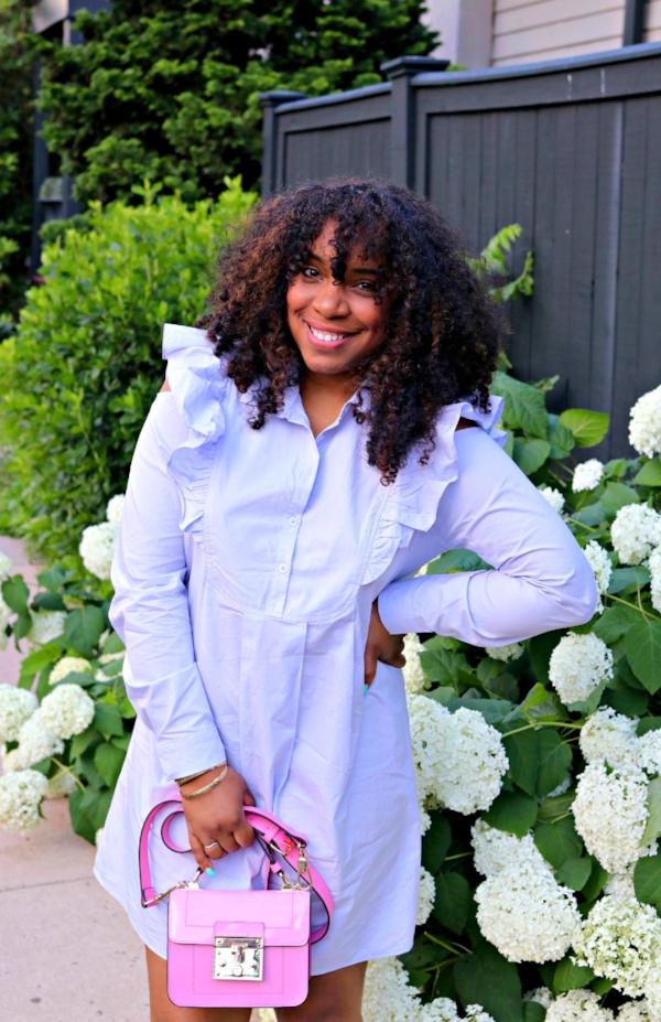 Ruffle Shoulder Dress and Pink Mini Satchel