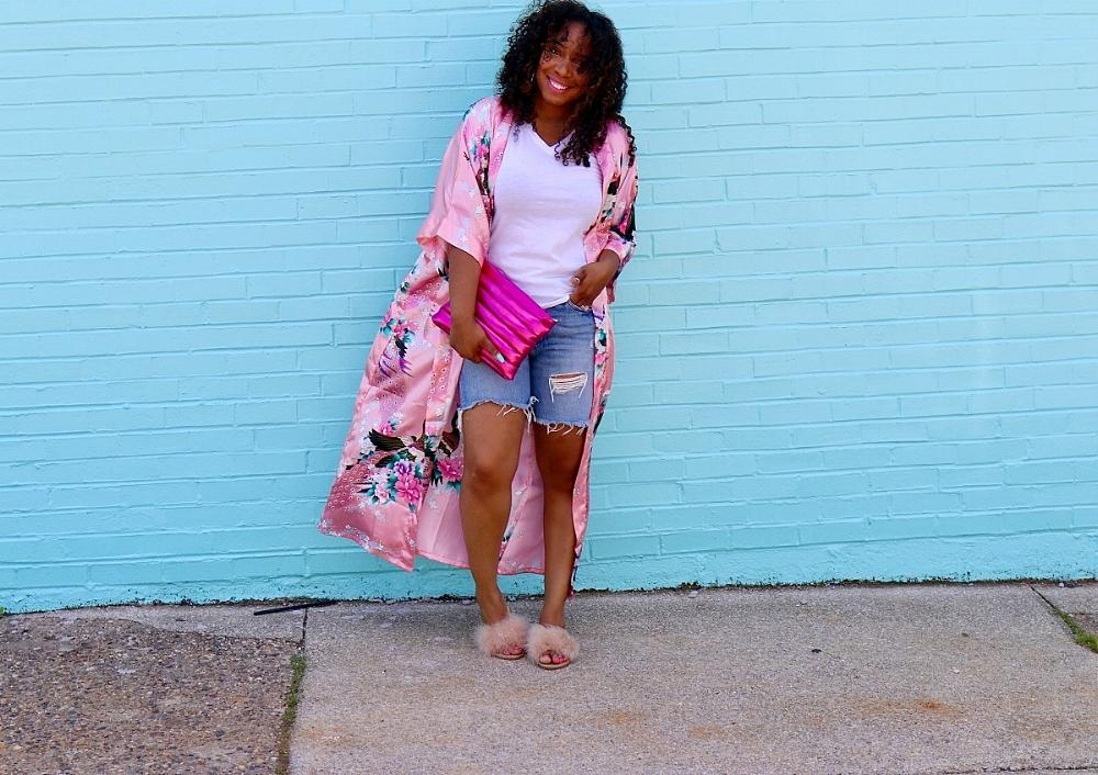 Style & Poise: Pink Kimono, Distressed Denim, Pink Metallic Clutch, Fur Slides