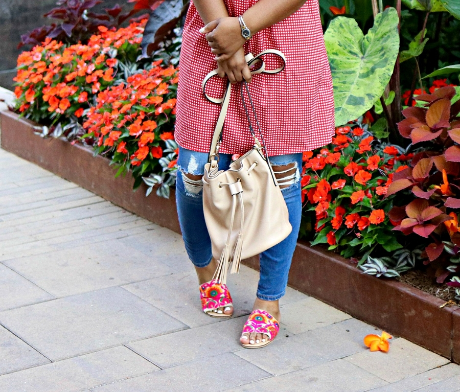 Nude Bucket Bag and Embrodiered Slides