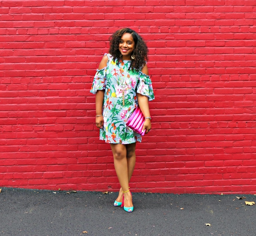 Floral Cut Out Dress, Fringe Sandals, and Metallic Clutch