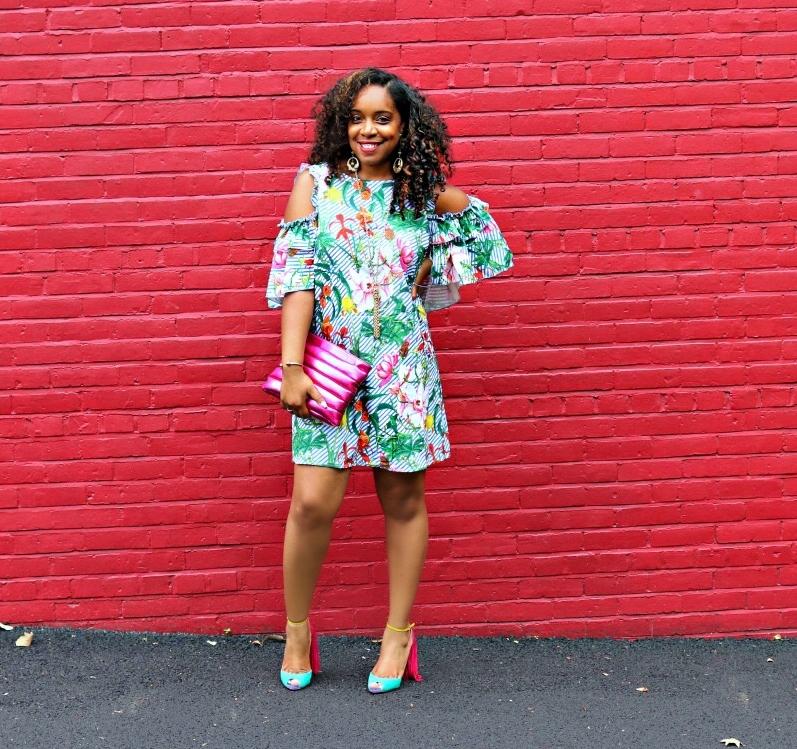 Floral Cut Out Dress, Fringe Heels, Metallic Clutch