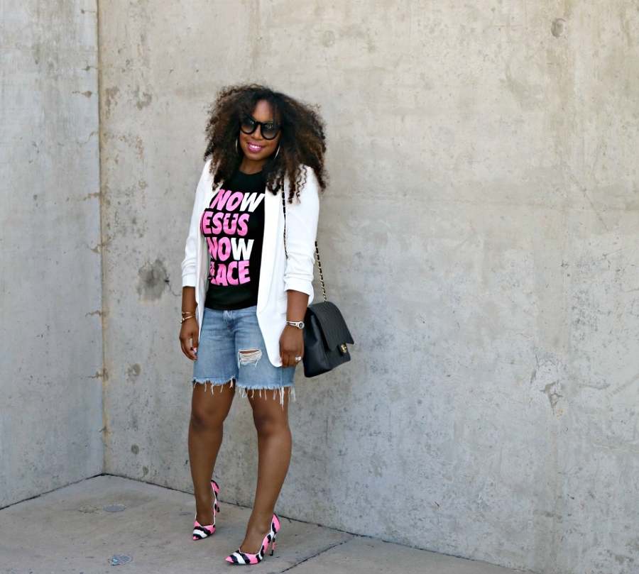 Graphic Tee, Denim Shorts and Blazer