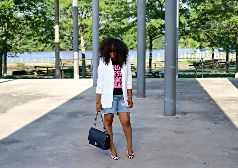 Graphic Tee, Blazer, Denim Shorts, Boyfriend Bllazer, Chanel Purse