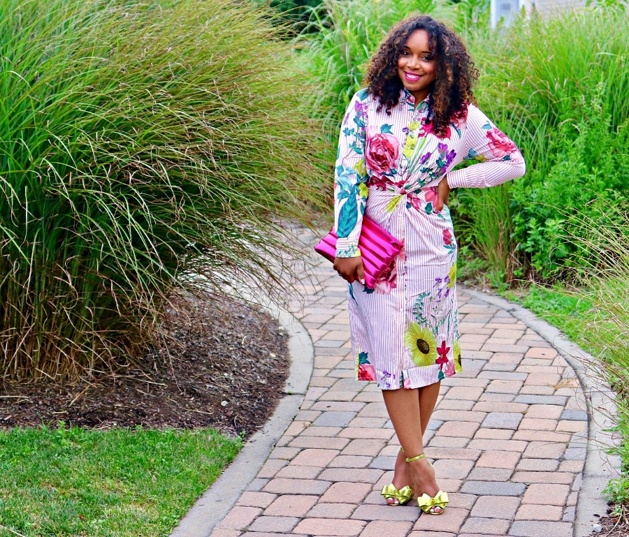 Floral Dress, Metallic Accessories