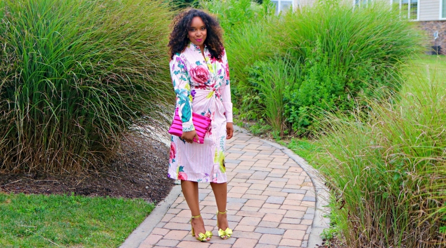 Floral Dress and Metallic Accessories