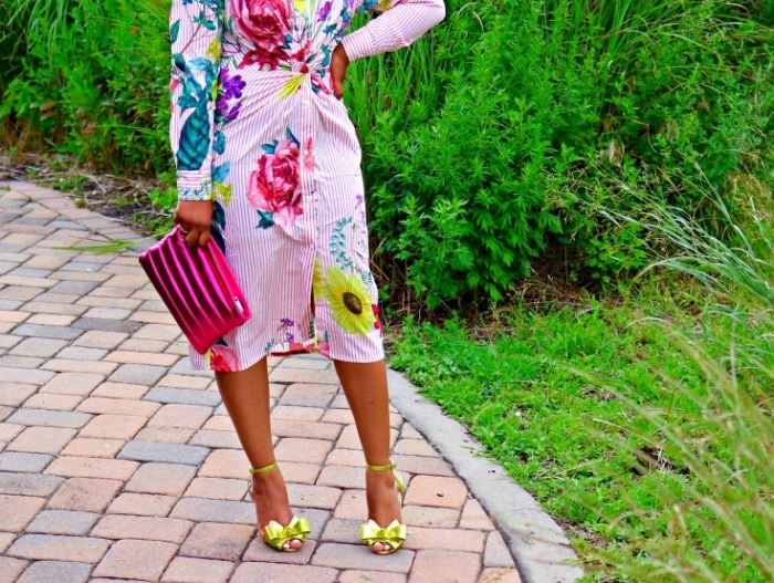 Floral Tie Knot Dress, Metallic CLutch and Bow Heels