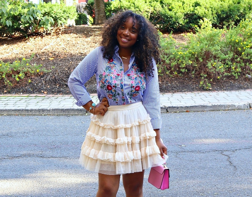 Embroidered Blouse and Ruffle Skirt
