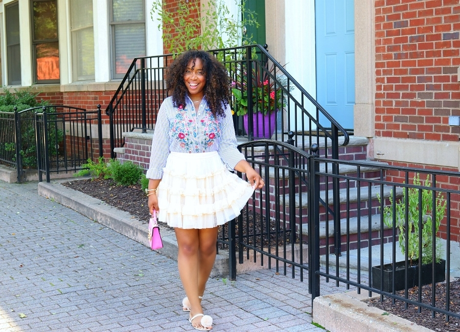 Embroidered Blouse with Mini Ruffle Skirt