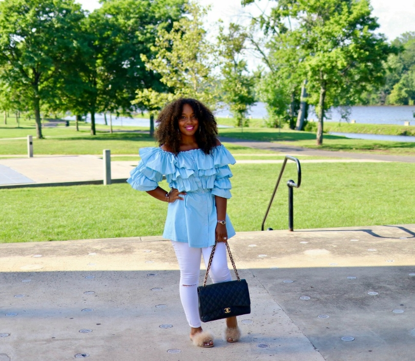 Off the Shoulder Ruffle Top, Distressed Skinnies, Fur Sides, Chanel Purse