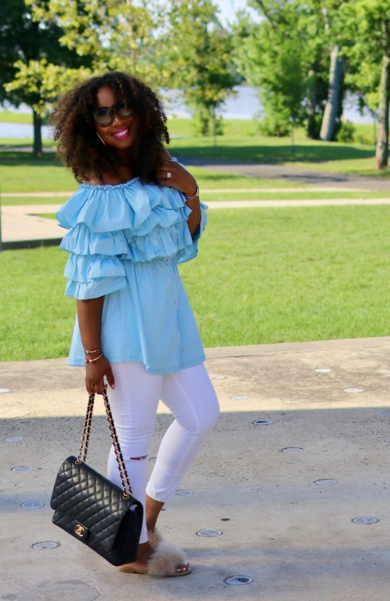 Off the Shoulder Ruffle Top with Distressed Denim and Fuzzy Slides with Chanel Caviar Maxi Bag