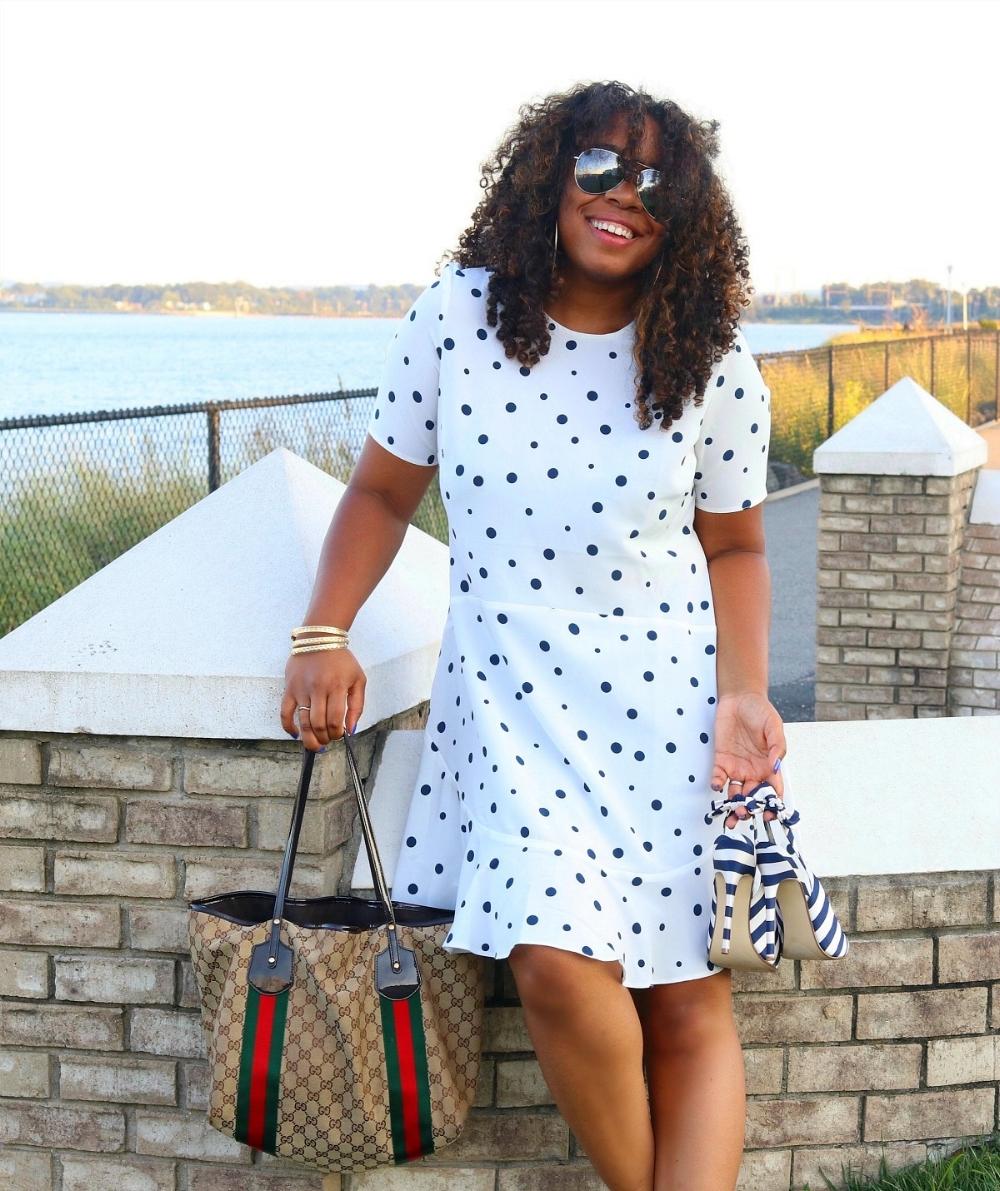 Polka Dot Dress, Gucci Tote, and Striped Heels